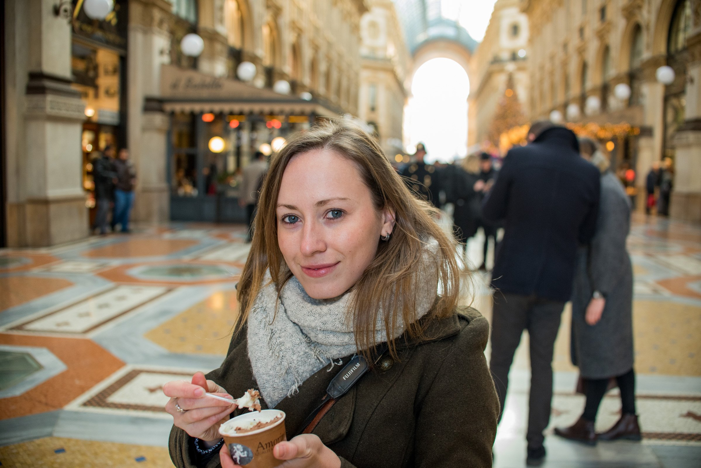Eating Gelato in Galleria Vittorio Emanuele II - Travel Notes on Milan, Italy